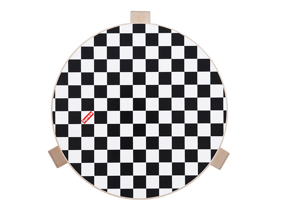 Checker Top with Supreme Box Logo on Artek 60 Stool Seat