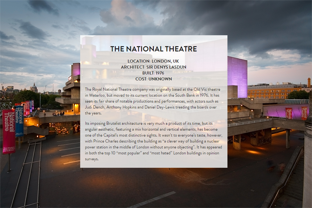 London Architecture : The National Theater. Designed by Sir Denys Lasdun